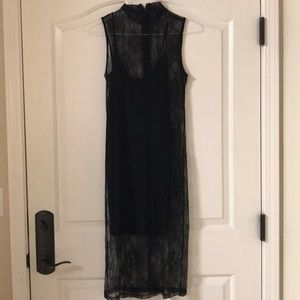 Black slip dress with lace overlay